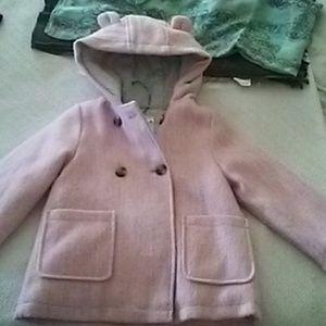❤Carters Pink wool Blend Hood Jacket 4T